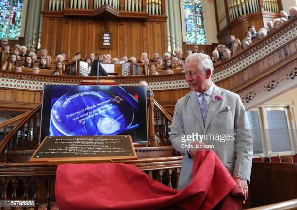 Prince Charles Prince of Wales unveils a plaque during a visit to The Morriston Tabernacle Chapel on July 03 2019 in Swansea Wales His Royal Highness...