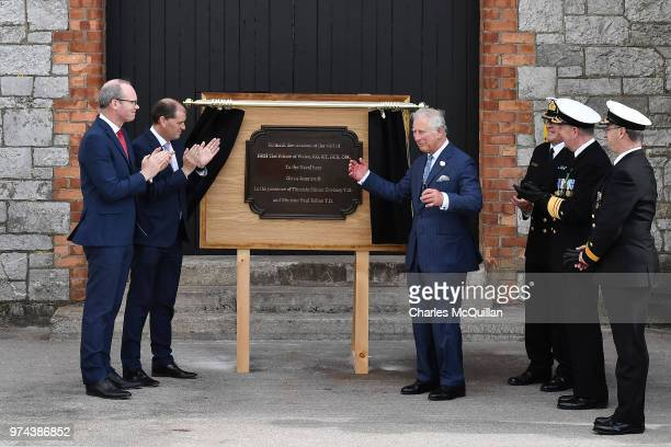 Prince Charles Prince of Wales unveils a plaque to commemorate his visit to Cork Naval Base on June 14 2018 in Cork Ireland The Prince of Wales and...