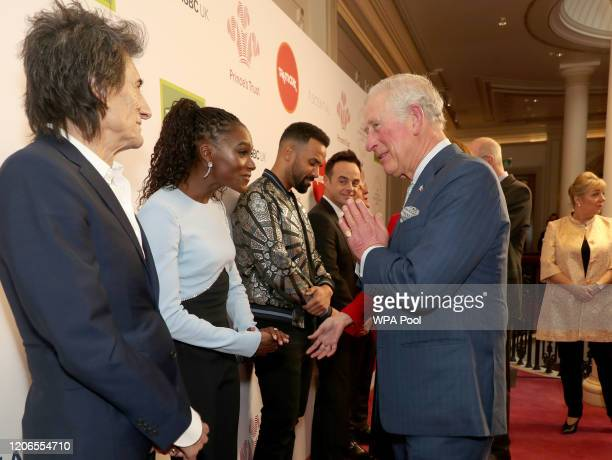 Prince Charles Prince of Wales uses the Namaste gesture to greet Dina AsherSmith as he attends the Prince's Trust And TK Maxx Homesense Awards at...