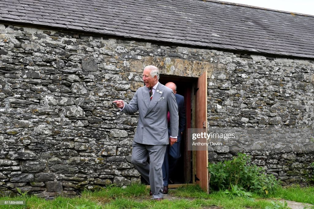 Prince Charles, Prince of Wales views buildings awaiting restoration as he visits the historic Strata Florida site during The Prince of Wales' annual Summer visit to Wales at Strata Florida on July 10, 2017 in Ceredigion, Wales. Strata Florida is the site of a former Cistercian monastery which was of immense importance to Wales during the Middle Ages. The conserved ruins of its church and part of the cloisters are in the care of Cadw, the Welsh Government's heritage agency, and can be visited by the public.