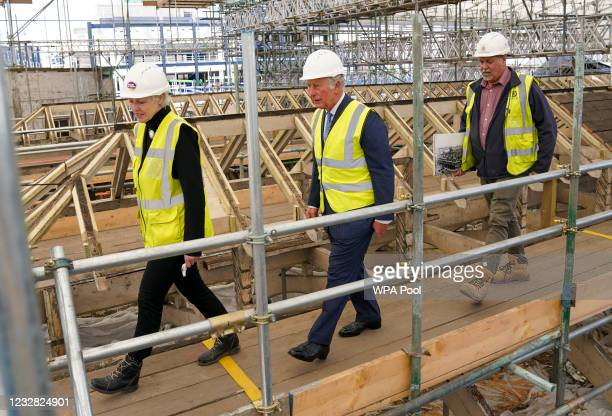 Prince Charles, Prince of Wales views construction and preservation work being undertaken in preparation for the site to become the new home of the...