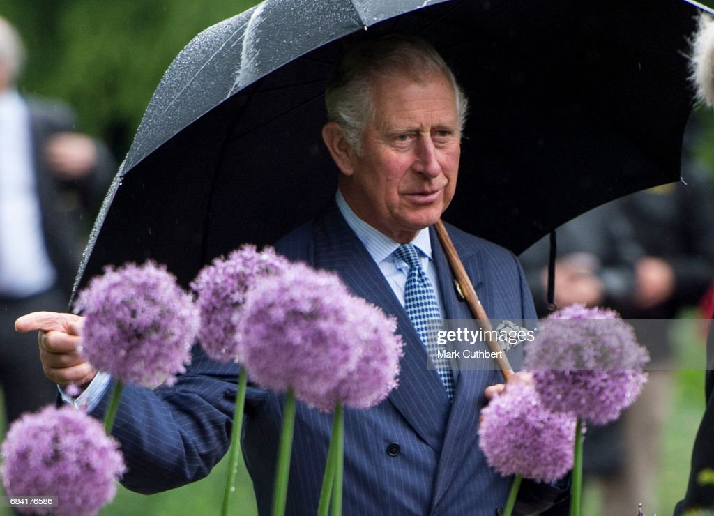 Prince Charles, Prince of Wales views the Great Broad Walk Borders at Kew Gardens on May 17, 2017 in London, England.