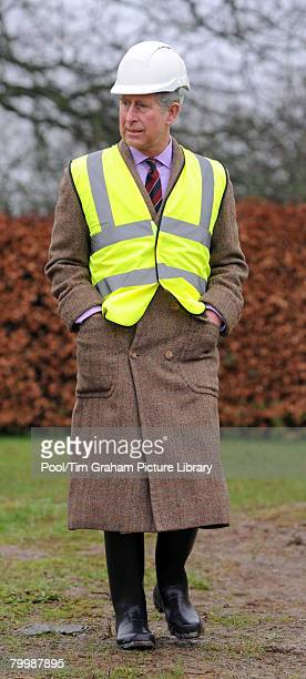 Prince Charles, Prince of Wales views the renovation work taking place at Llwynywormwood, which was bought by the Duchy of Cornwall for the Prince...