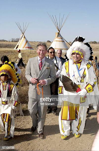 Prince Charles [ Prince Of Wales ] Visiting The Wanuskewin Heritage Park Where He Meets Plains Indians Of Various Tribes Including The Cree Sioux...