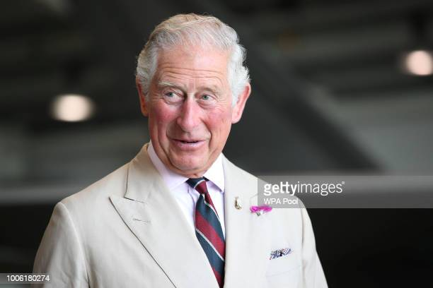Prince Charles Prince of Wales visits 617 Squadron the UK's first F35 Lightning Squadron based at RAF Marham Kings Lynn on July 27 2018 in Norfolk...