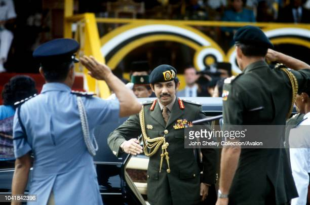 Prince Charles Prince of Wales visits Brunei to officially confer independence on the nation The Sultan of Brunei Hassanal Bolkiah 1984