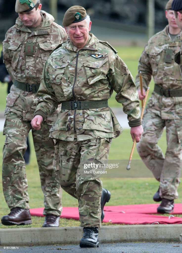 Prince Charles, Prince of Wales visits Bulford Camp on February 9, 2018 in Salisbury, England. The Prince of Wales, Colonel-in-Chief, The Mercian Regiment, visits 1st Battalion The Mercian Regiment to mark ten years as Colonel-in-Chief and forty years since becoming Colonel-in-Chief of The Cheshire Regiment