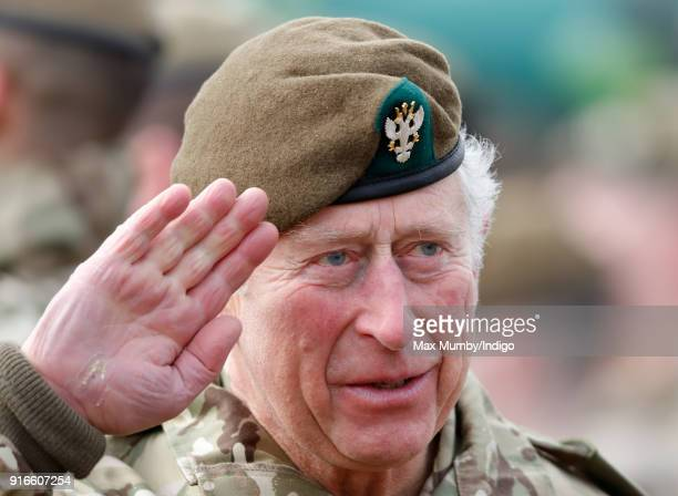 Prince Charles Prince of Wales visits Bulford Camp on February 9 2018 in Salisbury England The Prince of Wales ColonelinChief The Mercian Regiment...