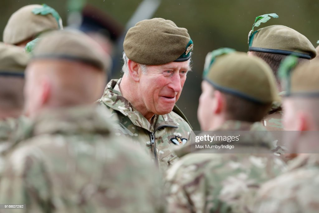 Prince Charles, Prince of Wales visits Bulford Camp on February 9, 2018 in Salisbury, England. The Prince of Wales, Colonel-in-Chief, The Mercian Regiment, visits 1st Battalion The Mercian Regiment to mark ten years as Colonel-in-Chief and forty years since becoming Colonel-in-Chief of The Cheshire Regiment.