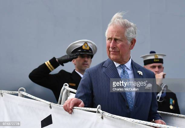 Prince Charles Prince of Wales visits Cork Naval Base on June 14 2018 in Cork Ireland The Prince of Wales and Duchess of Cornwall are paying a four...