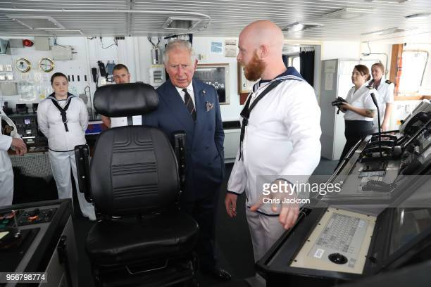 Prince Charles Prince of Wales visits HMS ECHO during a visit to Piraeus Harbour on May 10 2018 in Athens Greece His Royal Highness was greeted by...