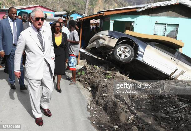 Prince Charles, Prince of Wales visits Pichelin to meet residents and view the damage caused by Hurricane Maria on November 19, 2017 in Pichelin,...