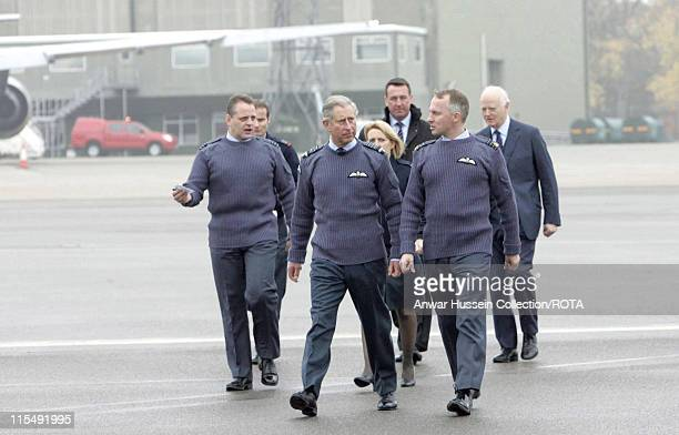 Prince Charles Prince of Wales visits RAF Brize Norton on October 26 2007 in Brize Norton England The Prince returned to the Royal Air Force's...