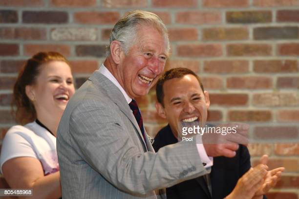 Prince Charles Prince of Wales visits Shopify to meet staff intern students and popup shop owners during a 3 day official visit to Canada on July 1...