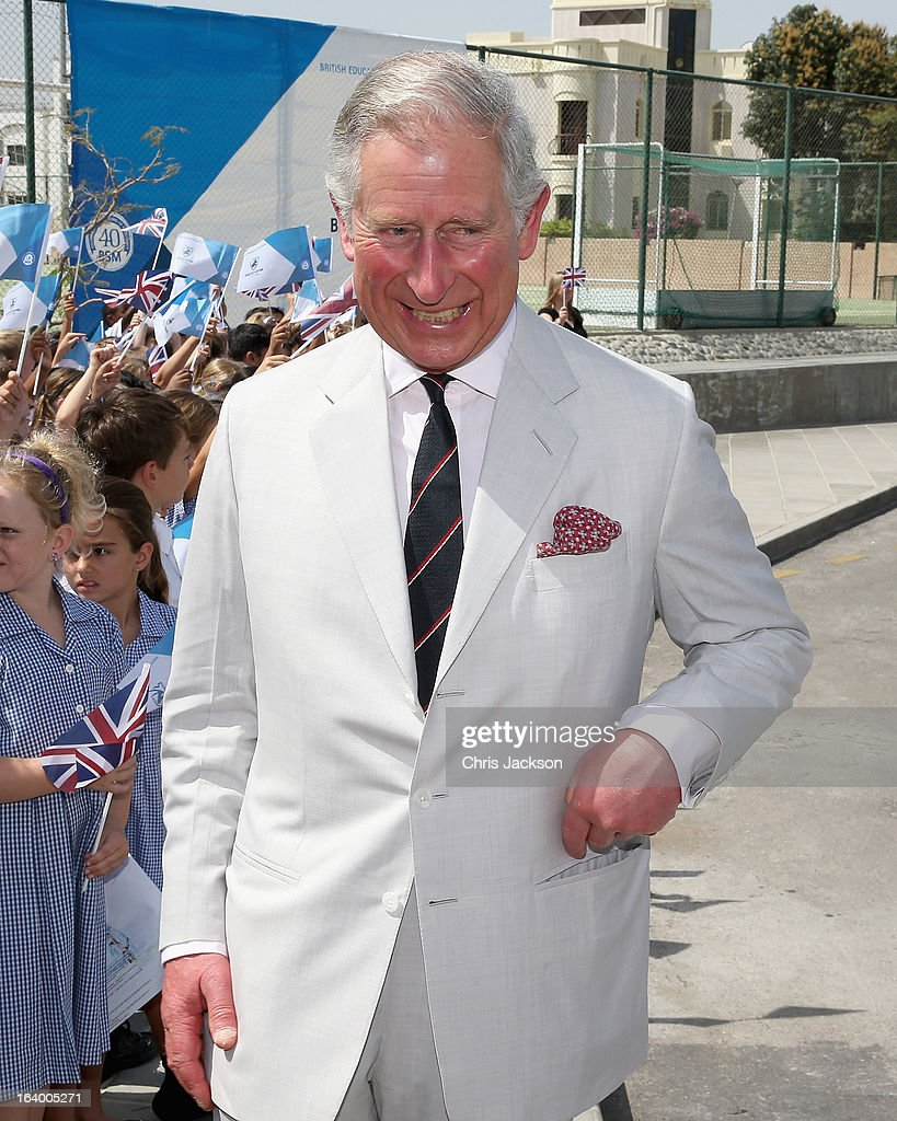 Prince Charles, Prince of Wales visits the British School in Muscat