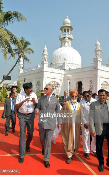 Prince Charles Prince of Wales visits the Haji Ali Mosque on Day 6 of an official visit to India on November 11 2013 in Mumbai India This will be the...