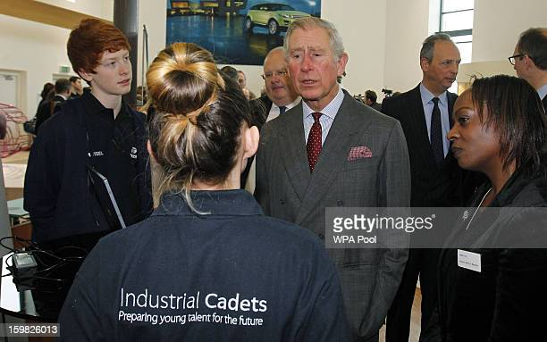 Prince Charles Prince of Wales visits the Jaguar Land Rover Halewood Operations Centre and helps launch the Industrial Cadets on January 21 2013 near...