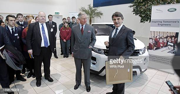 Prince Charles Prince of Wales visits the Jaguar Land Rover Halewood Operations Centre on January 21 2013 near Liverpool Merseyside England Prince...