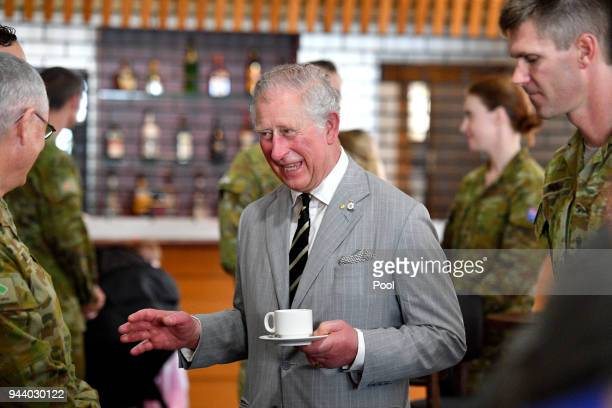 Prince Charles Prince of Wales visits the Larrakeyah Defence Precinct on April 10 2018 in Darwin Australia The Prince of Wales and Duchess of...