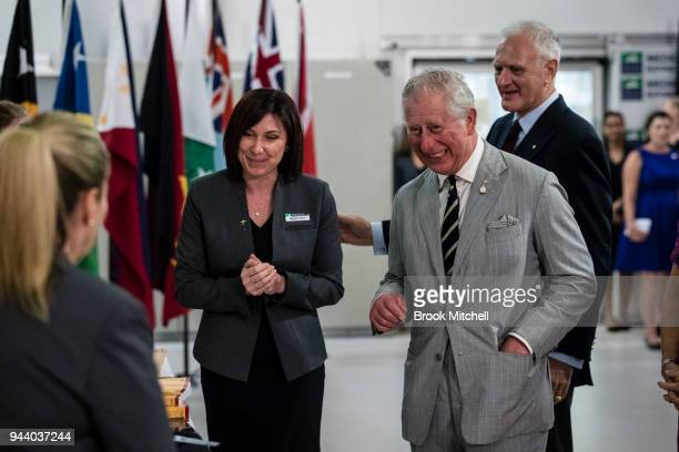 Prince Charles Prince of Wales visits the NCCTRC which prepares medical and logistics teams for deployment following disasters on April 10 2018 in...