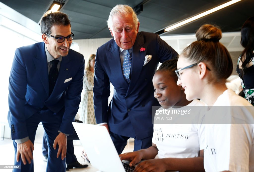 Prince Charles, Prince of Wales visits the new Tech Hub, with Chief Executive of Yoox Net-a-Porter Group Federico Marchetti, at the Yoox Net-a-Porter Group offices on May 16, 2018 in London England.