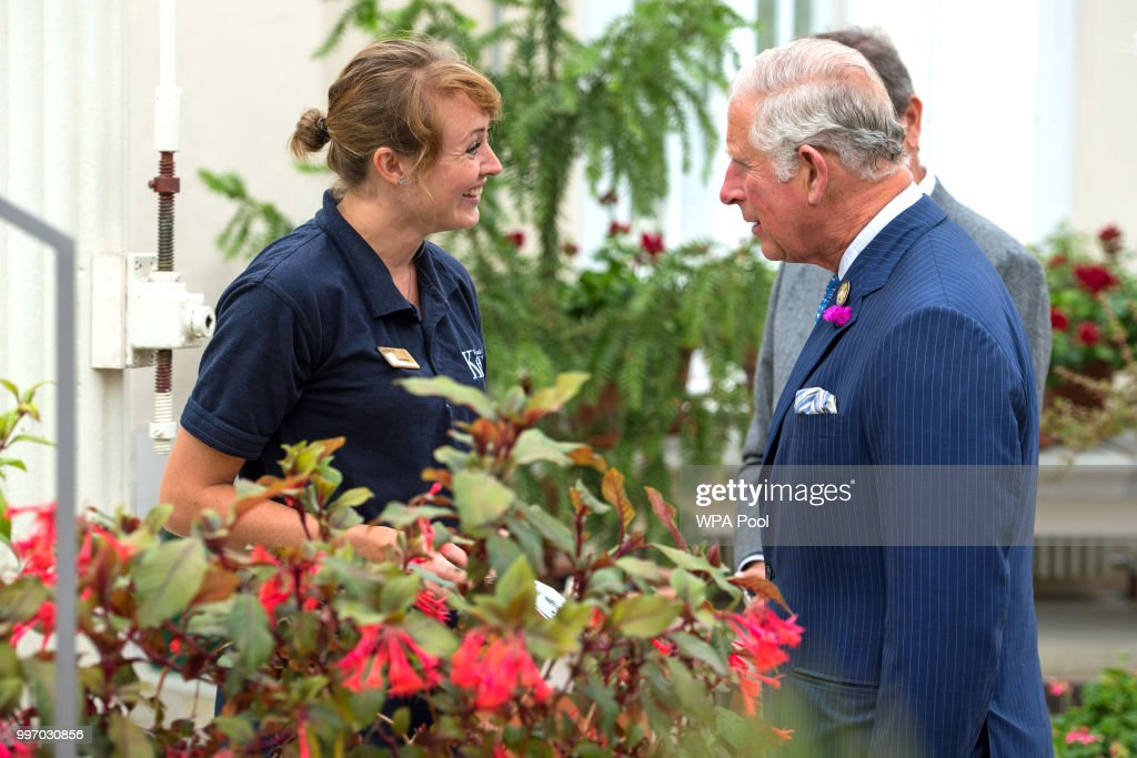 Prince Charles, Prince of Wales visits the Royal Botanic Gardens to celebrate the recently restored Temperate House and to tour the restored Great Pagoda at Kew Gardens on July 12, 2018 in London, England.