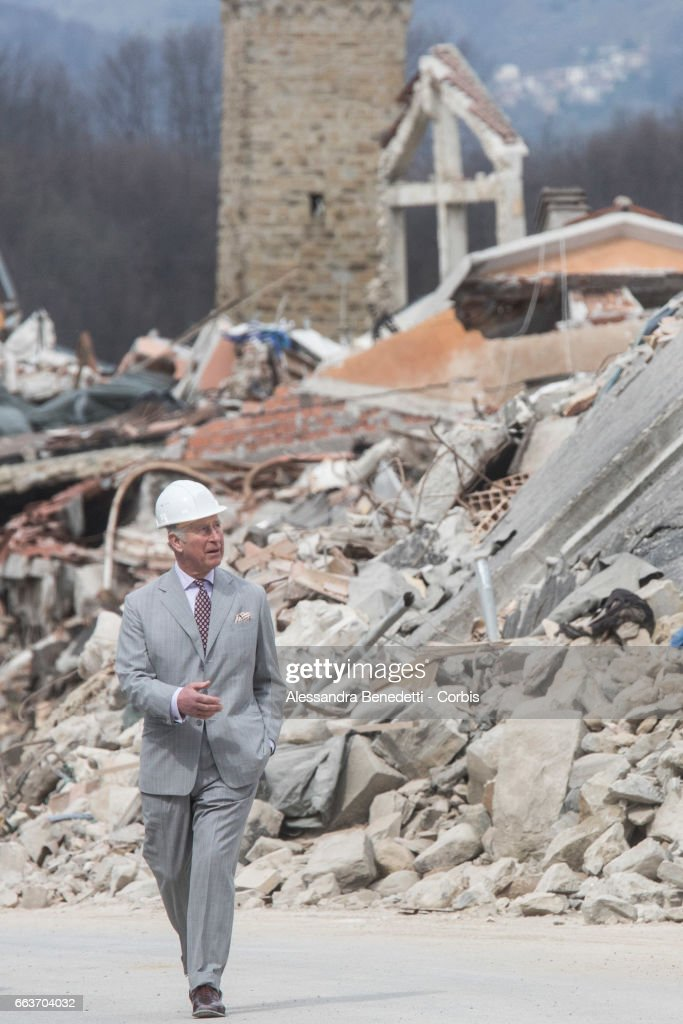 Prince Charles, Prince of Wales visits the ruins of Amatrice, the town devastated by a 6.0 magnitude earthquake and where 297 people died last summer, on April 2, 2017 in Italy.