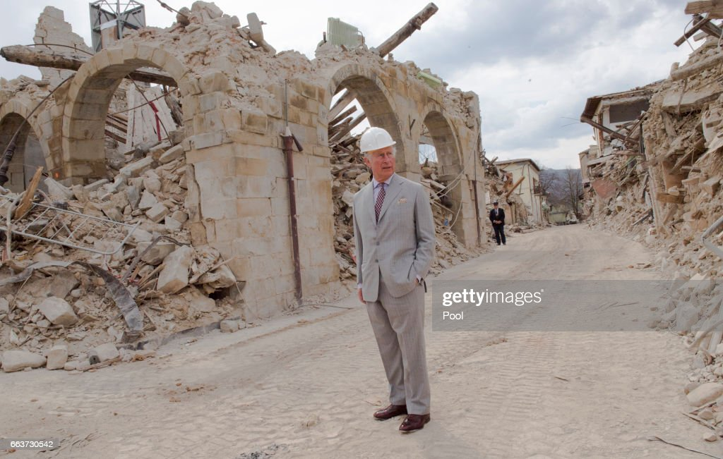 Prince Charles, Prince of Wales visits the ruins of Amatrice, the town devastated by a 6.0 magnitude earthquake and where 297 people died last summer, on April 2, 2017 in Italy. Prince Charles visited the Red Zone and was given a tour of the old town by Mayor Sergio Pirozzi. The tour ended at the Operations Centre, a former school building which now houses emergency services and reconstruction personnel.