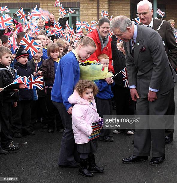 Prince Charles Prince of Wales visits to Cherry Fold Community Primary School on February 5 2010 in Burnley Lancashire United Kingdom