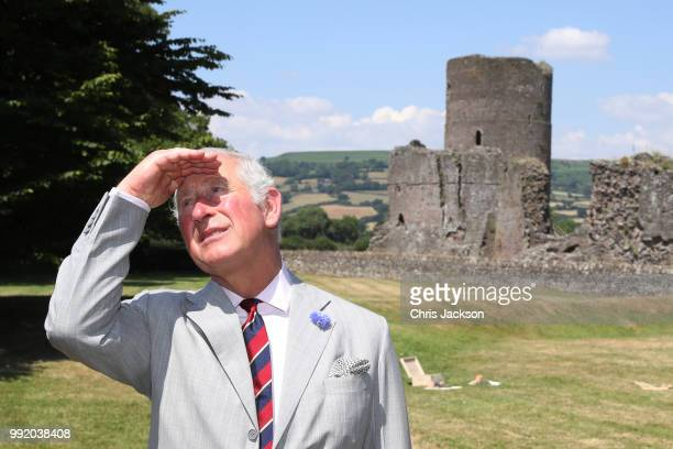Prince Charles Prince of Wales visits Tretower Court on July 5 2018 in Crickhowell Wales