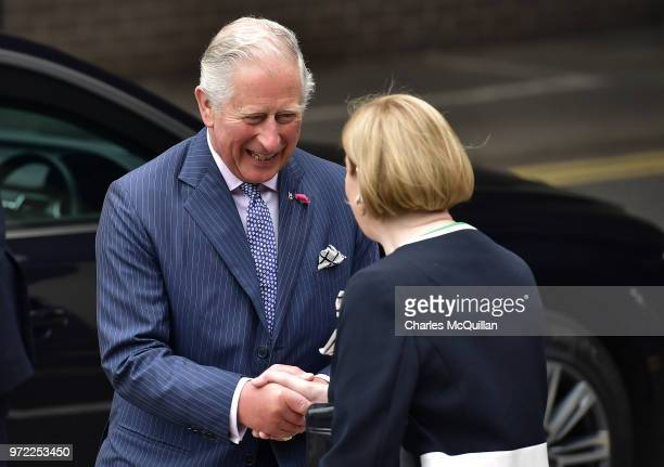 Prince Charles Prince of Wales visits Ulster University's Colraine Campus on June 12 2018 in County Londonderry United Kingdom The Prince of Wales...