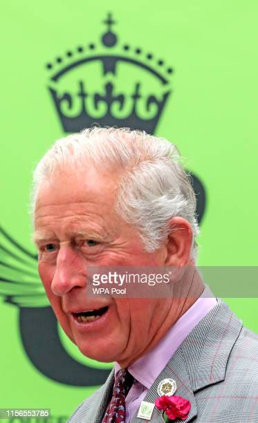Prince Charles Prince of Wales visits Woolcool on July 19 2019 in Stone England HRH is the Patron for The Campaign for Wool and learned how sheep's...