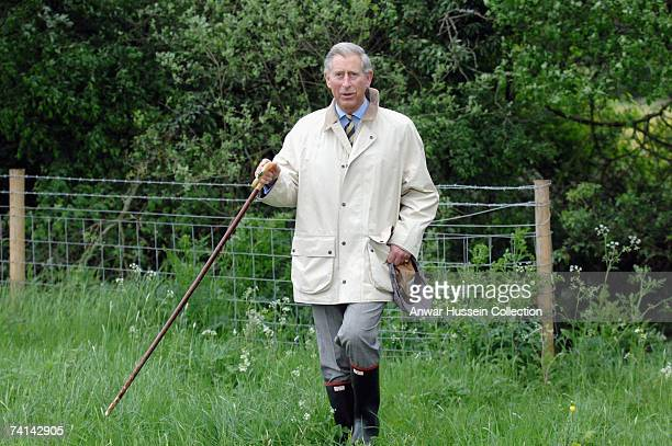 Prince Charles, Prince of Wales walks in the country between Clattinger Farm and Lower Moor Farm Nature Reserve on May 14, 2007 in Malmesbury,...
