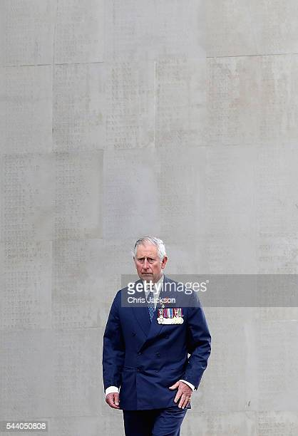 Prince Charles, Prince of Wales walks past names on the Thiepval Memorial during Somme Centenary Commemorations on July 1, 2016 in Thiepval, France....