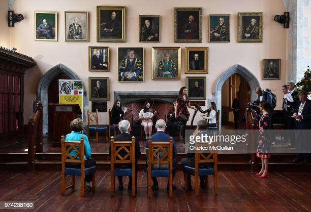 Prince Charles Prince of Wales watches a demonstration of Irish Dancing at University College Cork on June 14 2018 in Cork Ireland The Prince of...