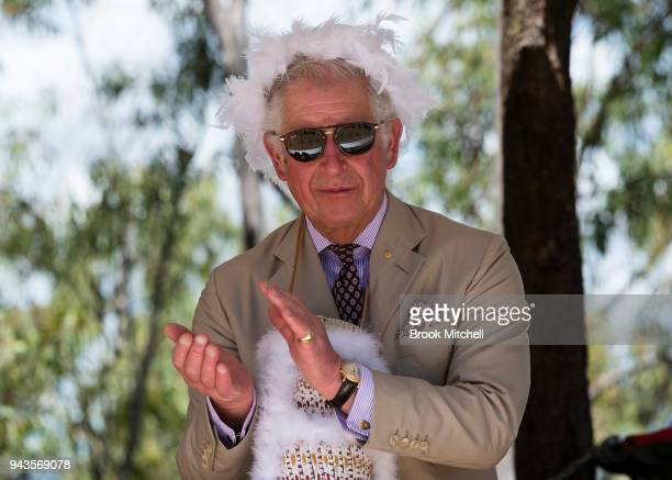 Prince Charles Prince of Wales watches a Welcome to Country Ceremony in his honour on April 9 2018 in Gove Australia The Prince of Wales and Duchess...