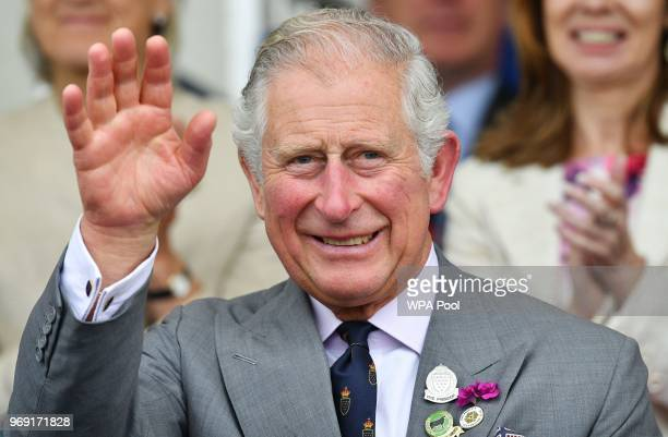 Prince Charles, Prince of Wales waves as he attends the Royal Cornwall Show on June 07, 2018 in Wadebridge, United Kingdom.