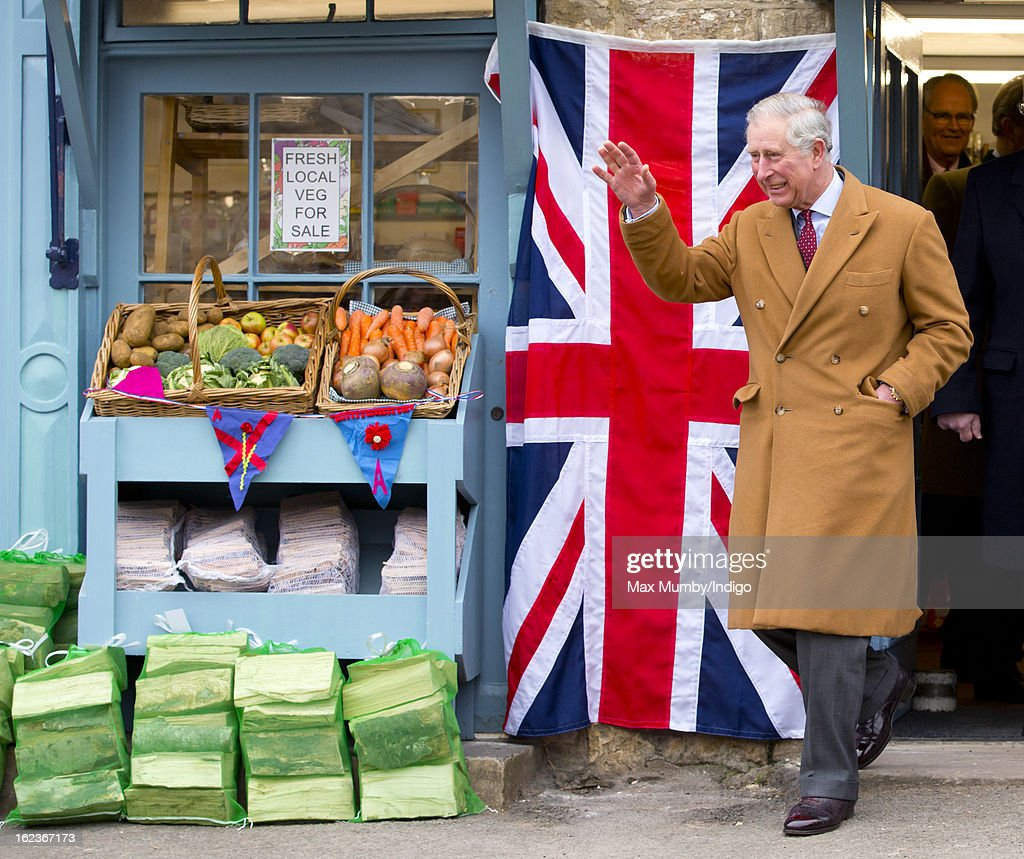 Prince Charles, Prince of Wales waves as he visits the Uley Community Stores and Post Office whilst on a day of engagements in Gloucestershire on February 22, 2013 in Uley, Gloucestershire, England.