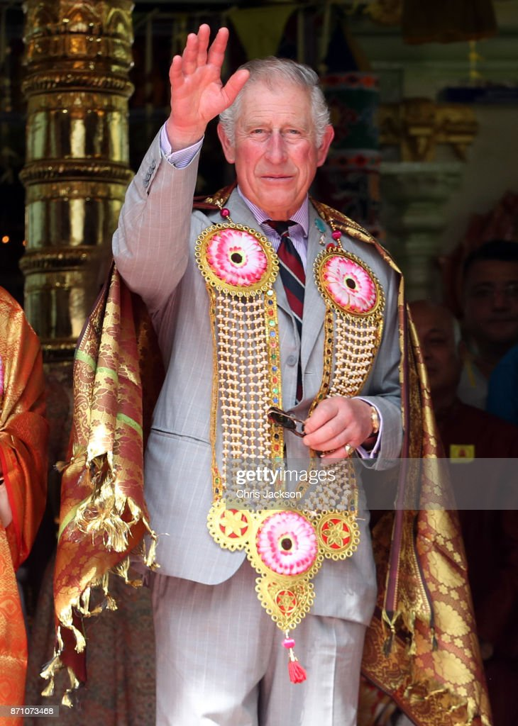 Prince Charles, Prince of Wales waves at the Sri Mahamariamman Temple on November 7, 2017 in George Town, Penang, Malaysia. Prince of Wales and Camilla, Duchess of Cornwall are on a tour of Singapore, Malaysia, Brunei and India.