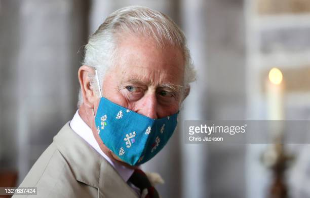 Prince Charles, Prince of Wales wears a face mask as he attends a service for the Centenary of the Church in Wales at St David's Cathedral on July...