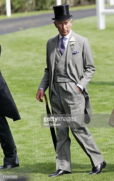 Prince Charles Prince of Wales wears traditional top hat and tails to the first day of Royal Ascot Races on June 20 2006 in Berkshire England