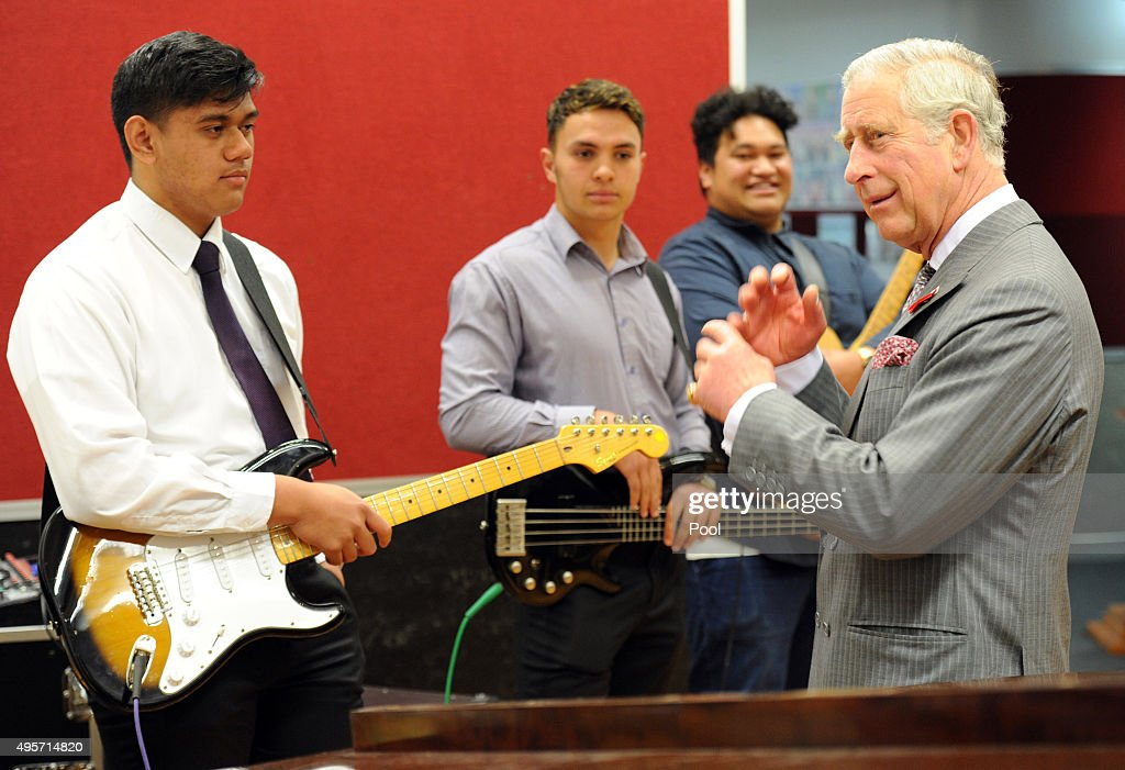 Prince Charles, Prince of Wales with a musical group at Tawa College, on November 5, 2015 in Wellington, New Zealand. The Royal couple are on a 12-day tour visiting seven regions in New Zealand and three states and one territory in Australia.