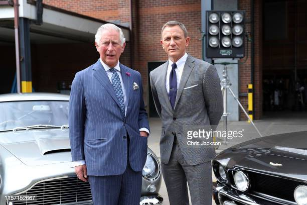 Prince Charles, Prince of Wales with actor Daniel Craig during a visit to the James Bond set at Pinewood Studios on June 20, 2019 in Iver Heath,...