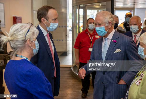 Prince Charles, Prince of Wales with British Health secretary Matt Hancock meet NHS staff during their visit to the Chelsea & Westminster hospital on...