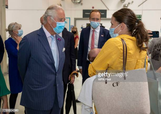 Prince Charles, Prince of Wales with British Health secretary Matt Hancock visits the Chelsea & Westminster hospital on June 17, 2021 in London,...