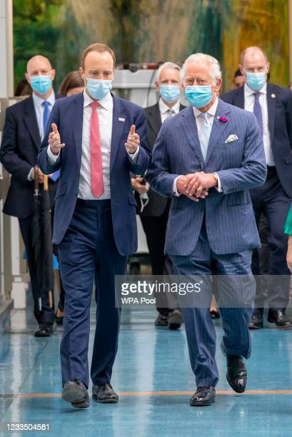 Prince Charles, Prince of Wales with British Health secretary Matt Hancock visit the Chelsea & Westminster hospital on June 17, 2021 in London,...