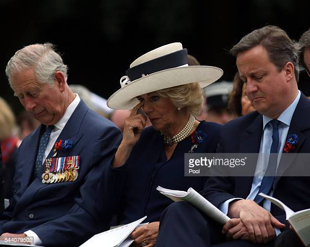 Prince Charles Prince of Wales with Camilla Duchess of Cornwall and Prime Minister David Cameron during the Commemoration of the Centenary of the...
