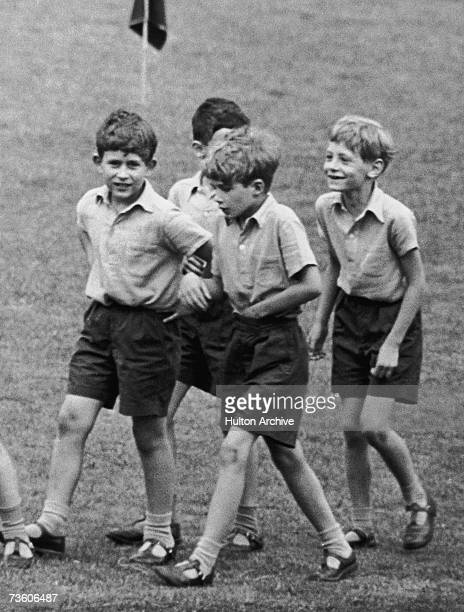 Prince Charles Prince of Wales with friends at prep school in England 1957