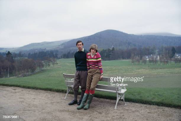 Prince Charles, Prince of Wales with his fiance Lady Diana Spencer during a photocall before their wedding while staying at Craigowan Lodge on the...