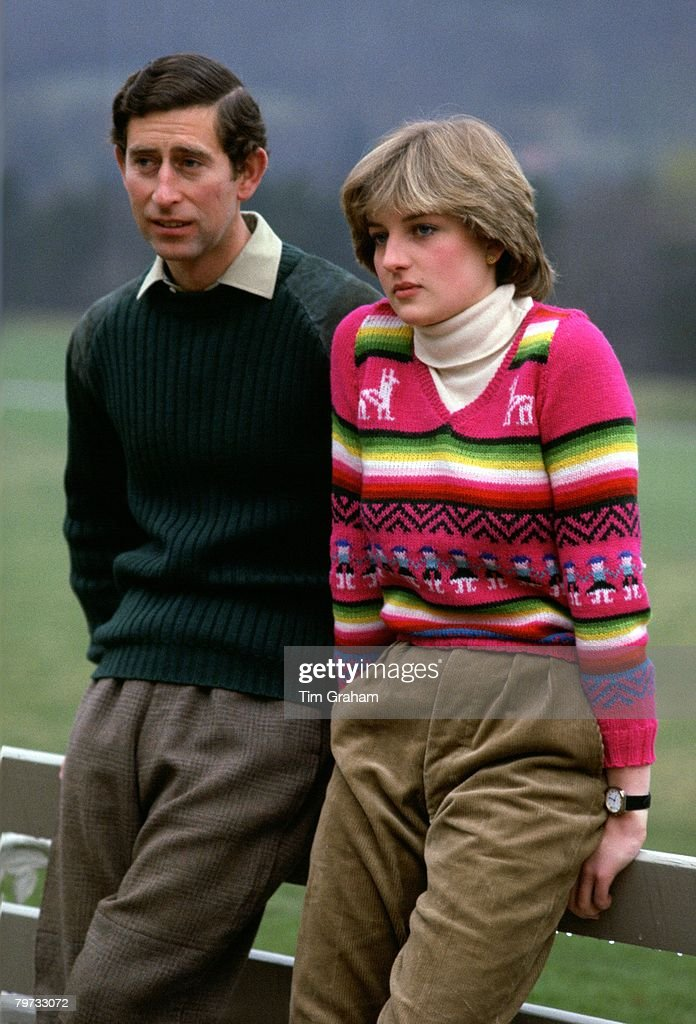 Prince Charles, Prince of Wales with his fiance Lady Diana S : News Photo